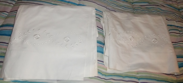 M921MTwo similar top sheet with handmade English embroidery