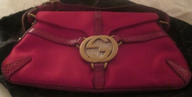 xxM977M Gucci Red Satin Evening Bag / Gucci Buckle, Rhinestones Snake Leather Trimming x