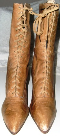 xxM19M Early 1900 tan leather lace up Boots