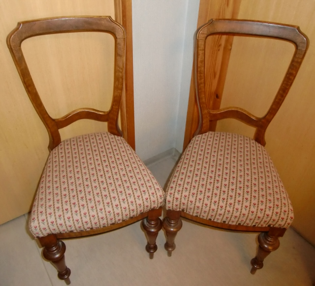 M894M Two chairs from 1880s with embroidered seats