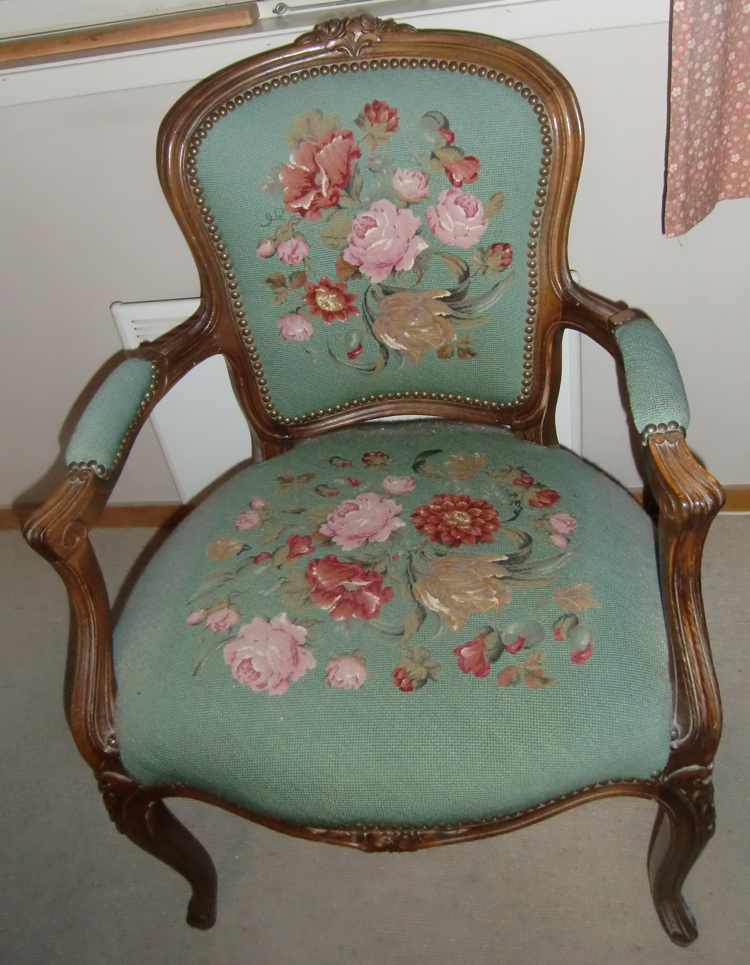 M889M Chair with petit point embroidery