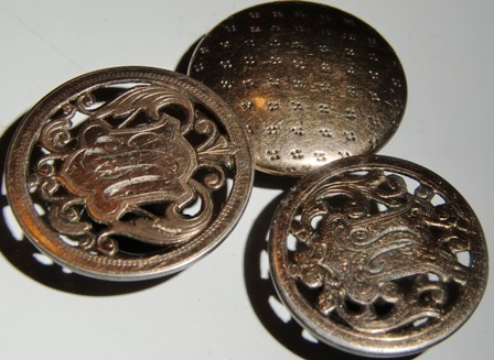 M318M Gentlemans Cuff buttons in silver with gold gilding from 1912