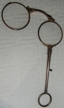 M322M ANTIQUE VICTORIAN STERLING SILVER LORGNETTE FOLDING SPECTACLES