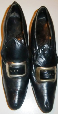 M472M LADIES VINTAGE LEATHER SHOES C. 1912 W. ORIGINAL BUCKLE