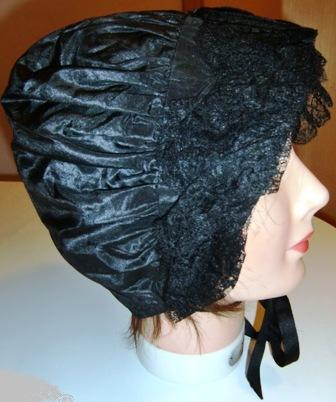 XXM522M Very Rare 1820s Silk Mourning Day Cap