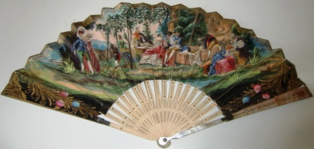 M529M Ca 1840-50 Hand Colored Lithograph French fan eventail