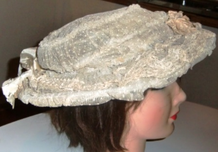 XXM343M EDWARDIAN NET & LACE HAT W/FLOWERS